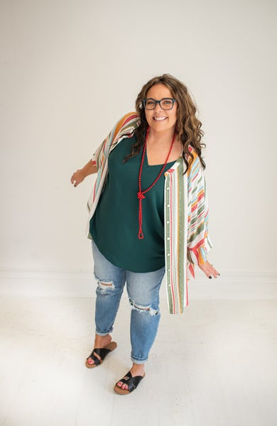 Striped Front Button Down Oversized Tunic