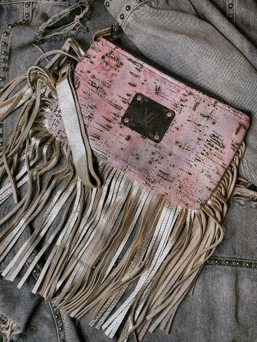 Pink & Gold Fringe Clutch