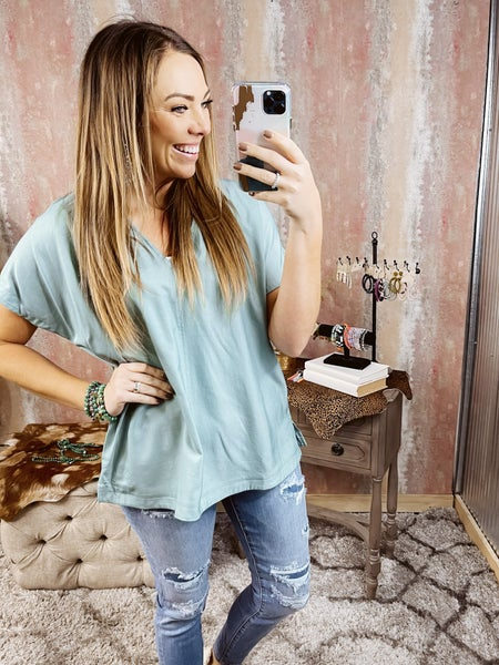 V Neck Seafoam Top with Back Button Detail
