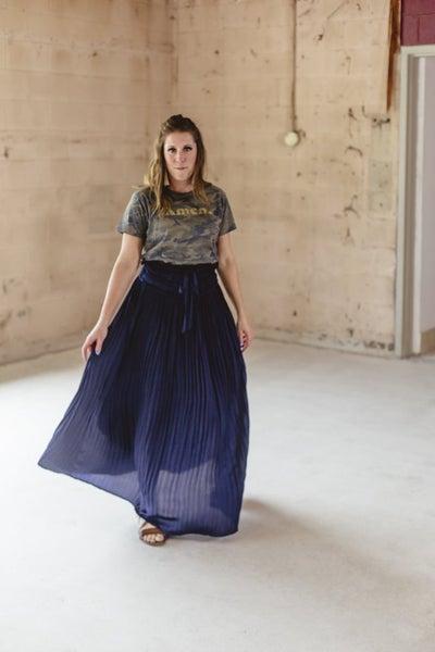 Dark Navy Pleated Skirt