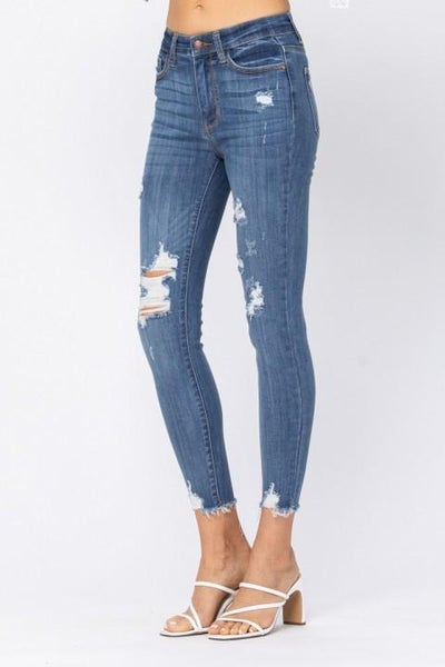 High Rise Cropped Destroyed Skinnies