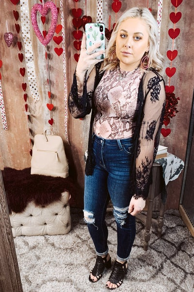 Mesh Embroidery Cardigan