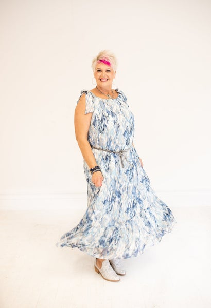 Abstract Metallic Accent Maxi Dress (Blue/Taupe)