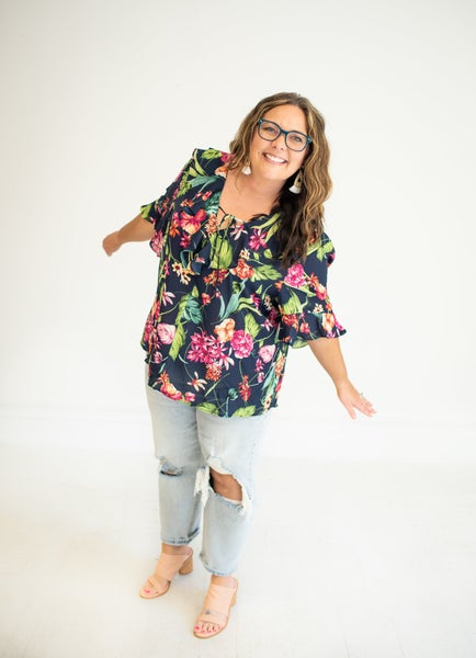 Navy Floral Blouse with Neckline Ruffles