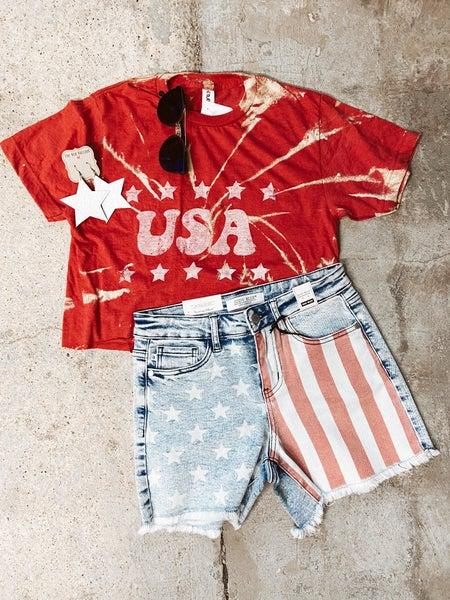 Tie Dye Red USA Crop Top