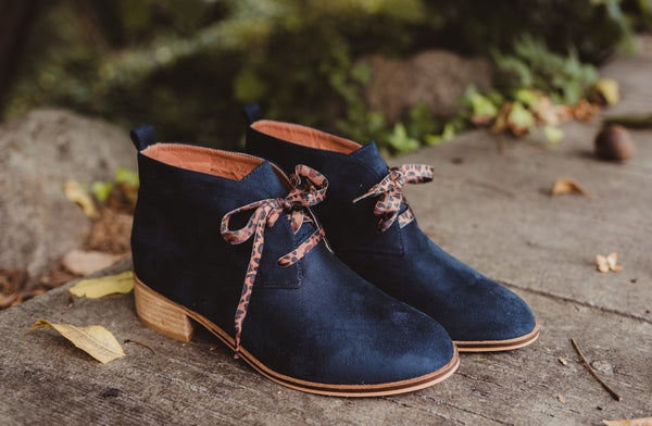 Navy Suede Lace Up Bootie