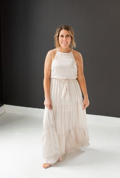 Jules Satin Tiered Maxi Dress - Ecru