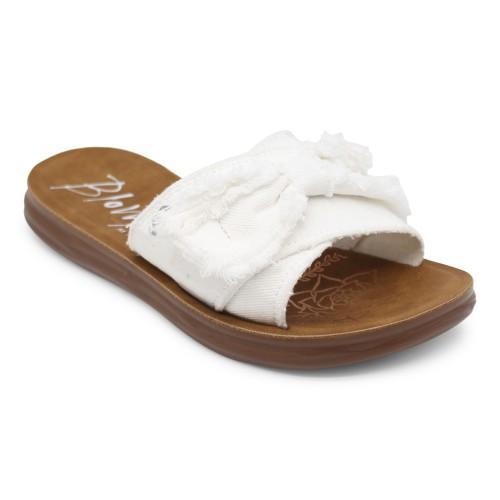 White Top Bow Slide On Sandal
