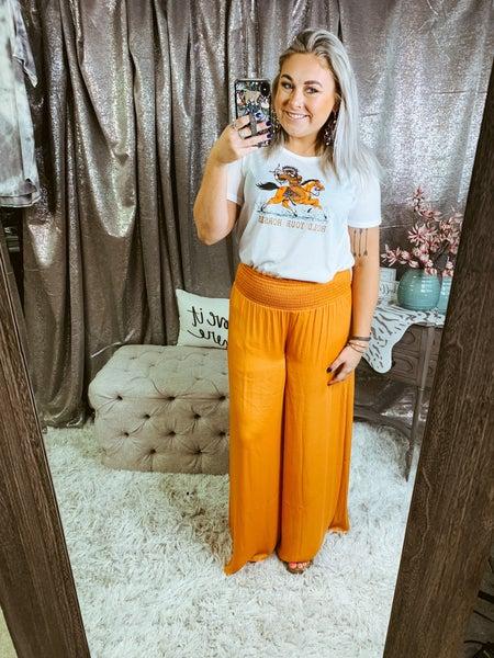Orange Wide Leg Smocked Pant