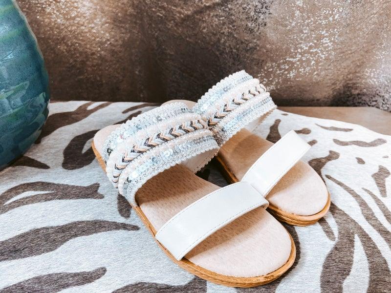 Double Band White Child Sandal
