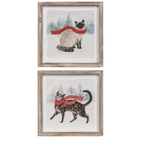 Christmas Cat Wall Decor