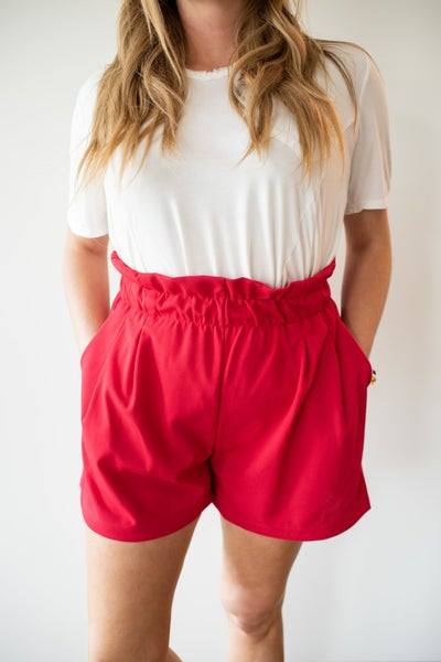 Red Paperbag Waist Shorts w/ Pockets