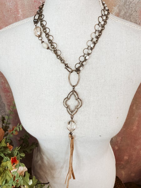 Multi Layered Necklace w/ Cream Pendant
