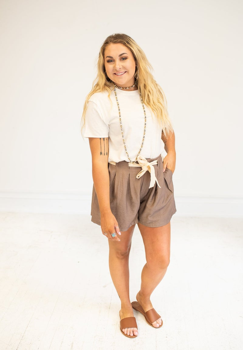 Mocha Pleated Shorts with Textured Belt