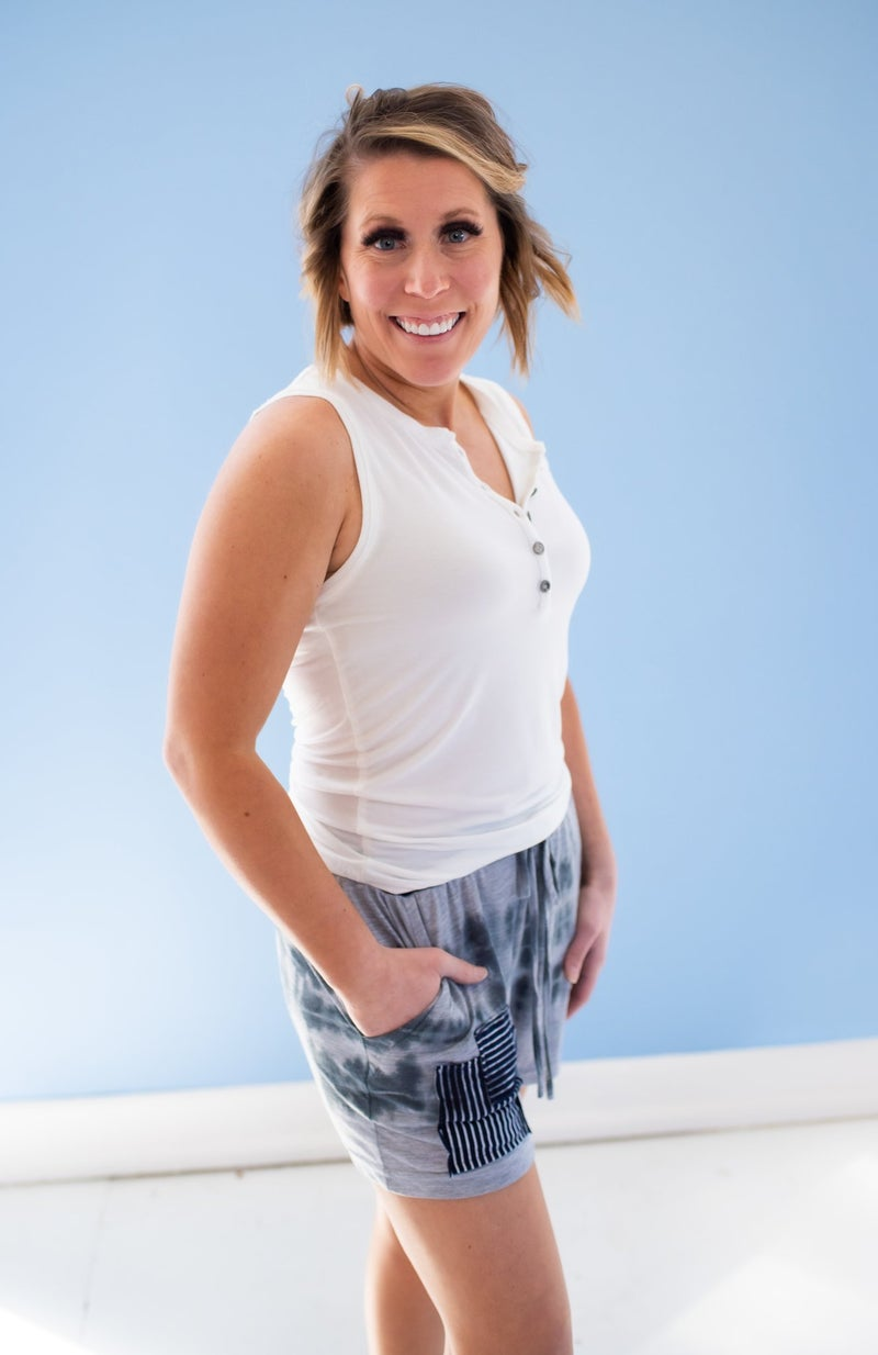 Knit Tie Dye Shorts w/ Pockets