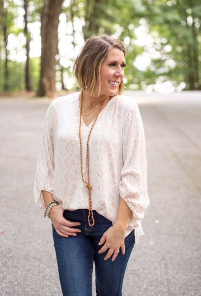 Peach Aztec V Neck with Balloon Sleeves