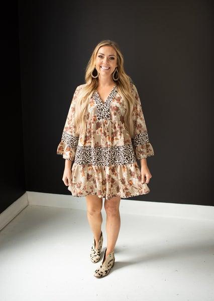 Cream Floral / Cheetah Mix Babydoll Dress