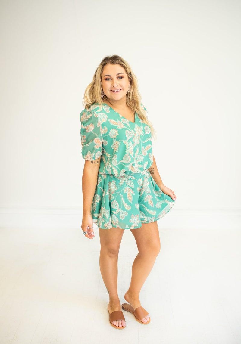 Mint Paisley Print Shorts