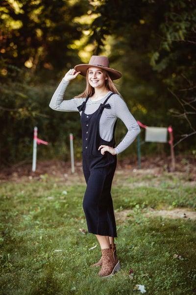 Black Linen Blend Button Front Jumpsuit