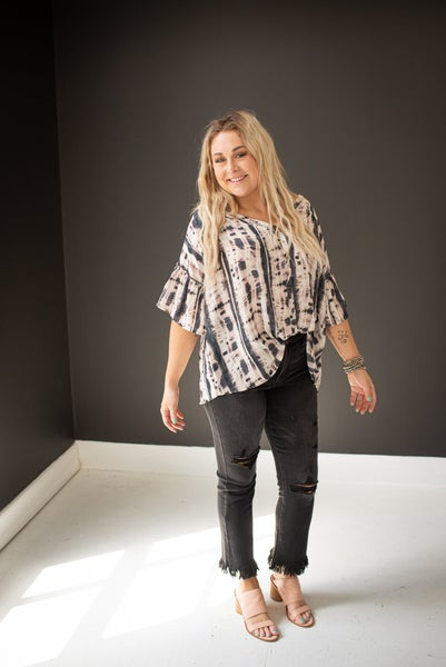 Front Button V Neck Tie Dye Top