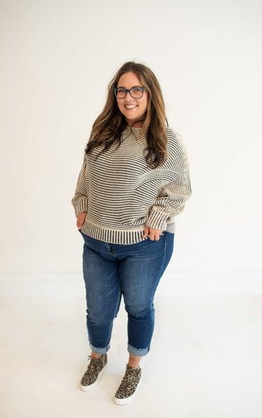 Navy & Cream Multi Texture Oversized Dolman Sweater
