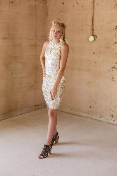 White & Gold Sequin Dress