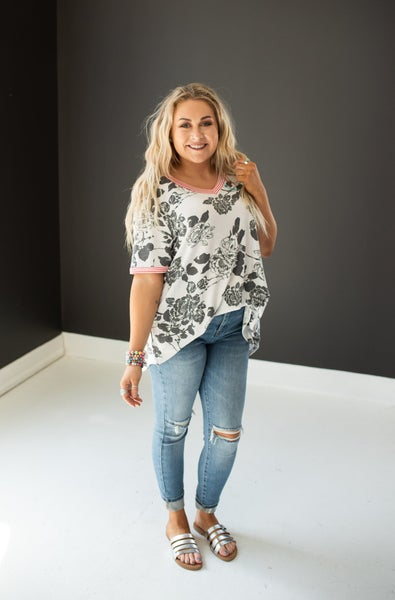 Black and White Floral Shirt with Coral Stripe Neckline