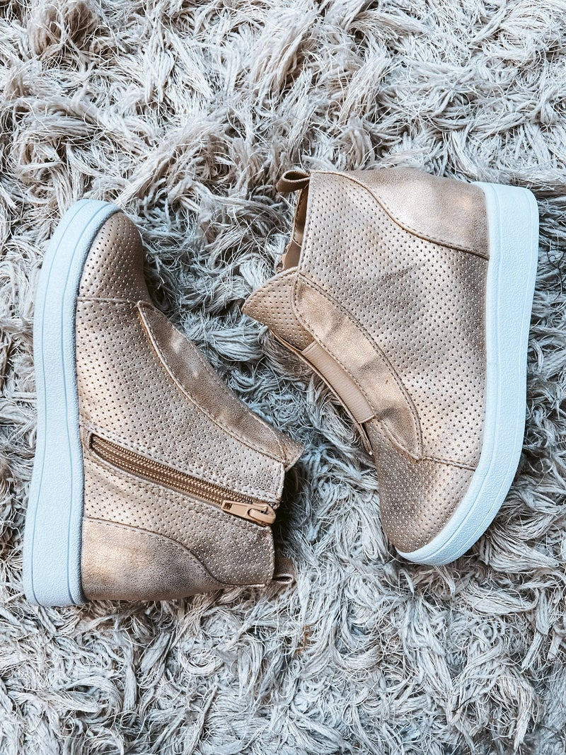 Kids Metallic Wedge Shoe
