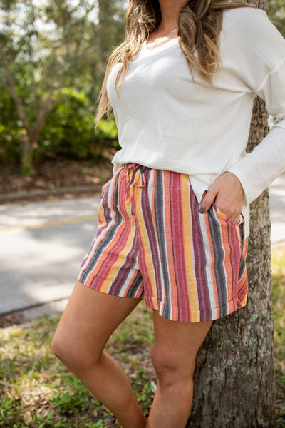 Coral Striped Shorts w/ Folded Hem