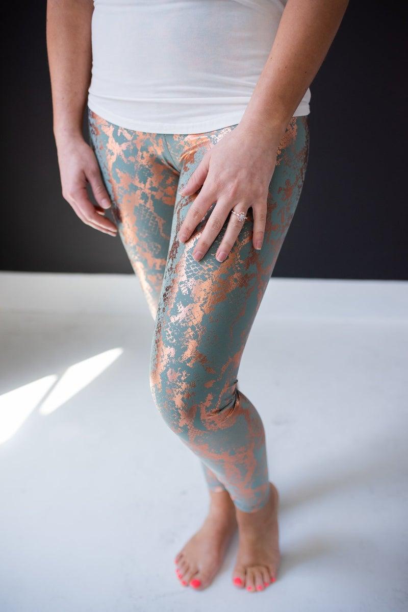 Gold & Sage Foil Snake Print Leggings