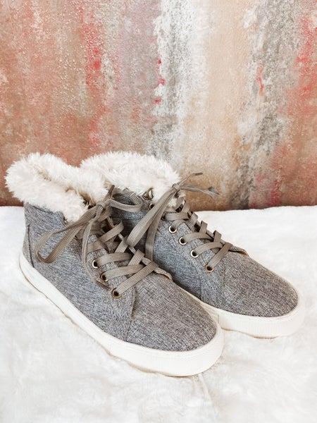 Gray Lace Up w/ Faux Fur Det.