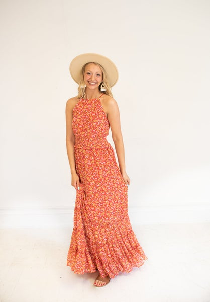 Summer Daze Red Floral Maxi with Tiered Skirt