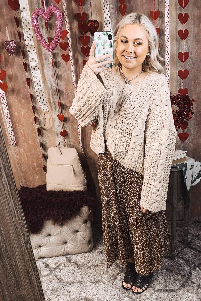 Soft Camel Hooded V Neck Sweater