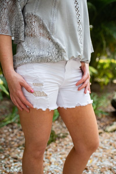 White Lace Patch Shorts