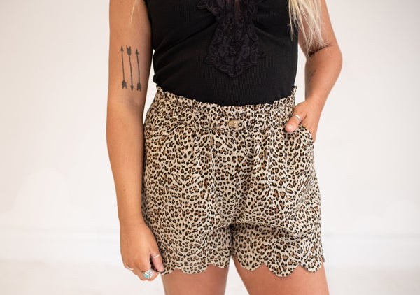Taupe Linen Animal Print Shorts with Scallop Hem