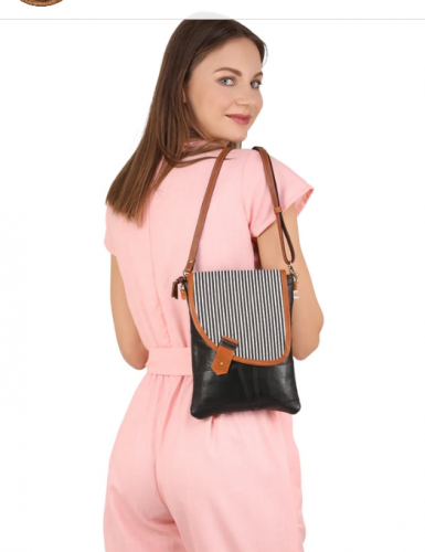 Black Crossbody w/ Stripe Asymmetrical Cover