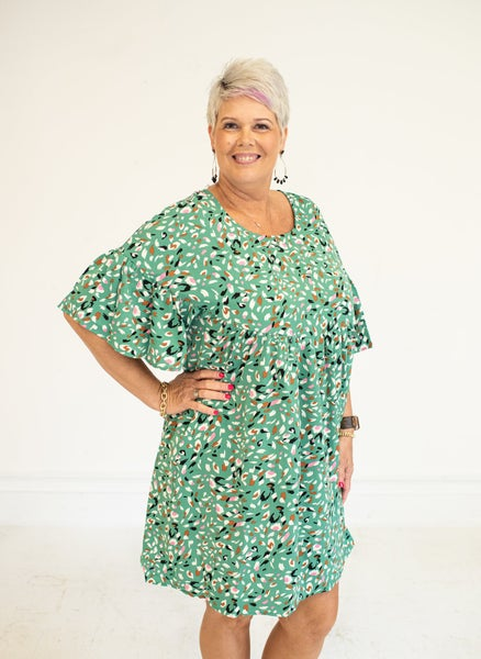 Dusty Green Multi Dot Tiered Dress with Pockets
