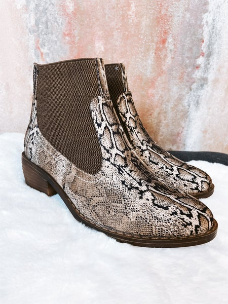 Brown Snake Heeled Bootie