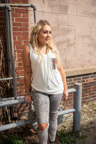 Mid Rise Gray Distressed + Cropped Skinny