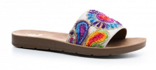 Slide On Embroidered Sandal