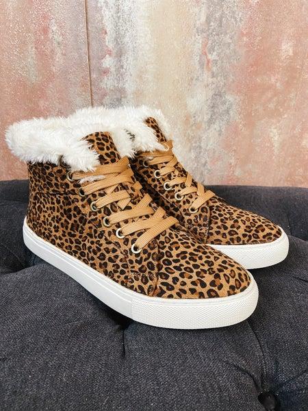 Cheetah Lace Up w/ Faux Fur Det.