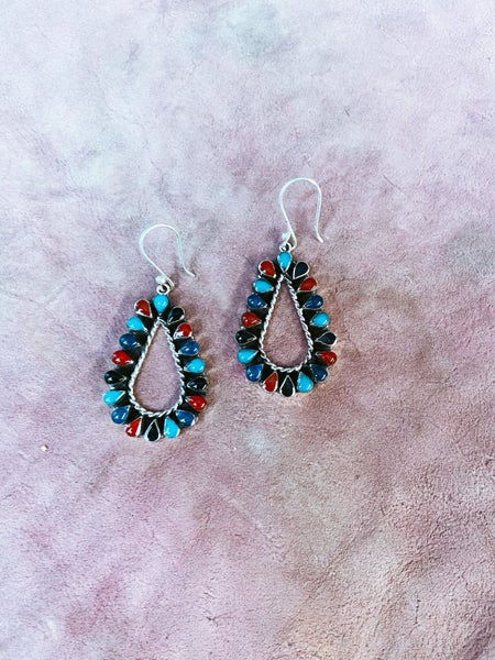 Multi Stoned Teardrop Earring