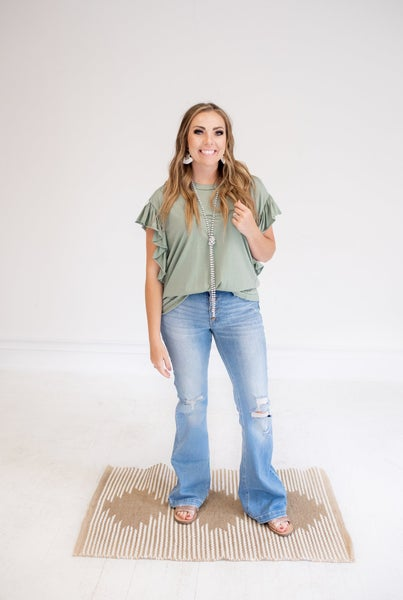 Mid Rise Distressed Flare Jean