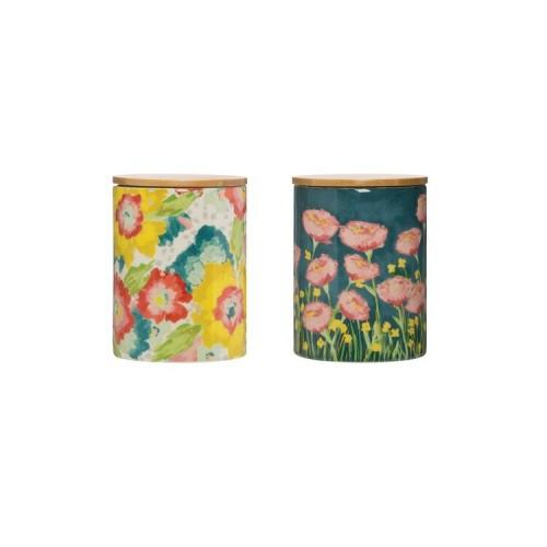 Floral Canister with Wood Lid