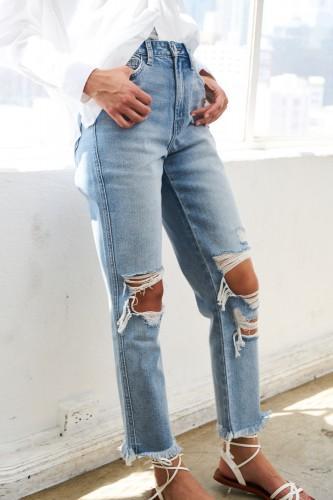 Super High Rise Distressed Straight Leg Jean