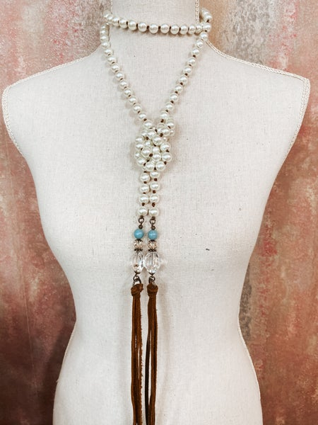 Pearl Wrap Necklace w/ Turq. Charmed Accent