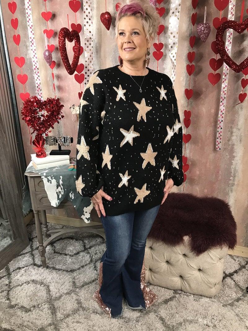 Black Sweater w/ Tan Stars