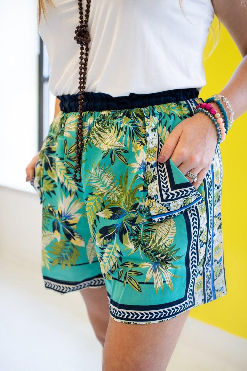 Teal Tropical Shorts w/ Elastic Waist