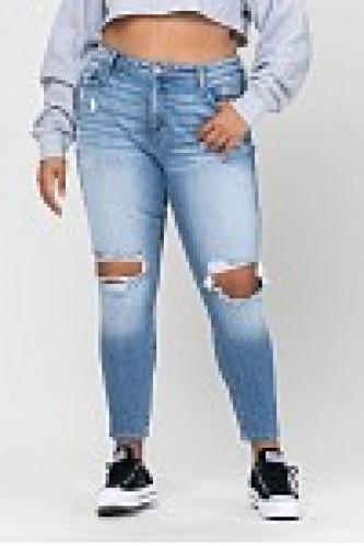 High Rise Mom Skinny Jeans w/ Knee Destruction