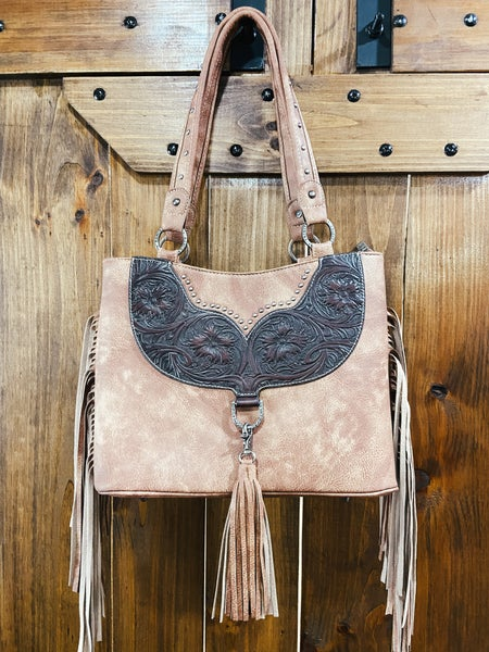 Taupe Leather Detail Concealed Carry Purse